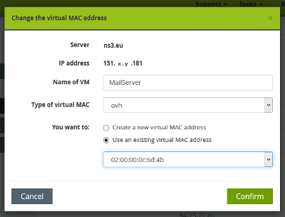 Add MAC address for all your KVMs