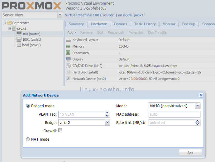 Add another network device in Proxmox KVM